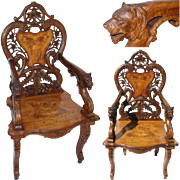 "RARE Antique Swiss Black Forest 46"" Carved Arm Chair, Hunt Style Chamois Inlays, Magnificent BEAR Head Arms"