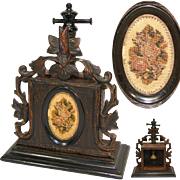Rare Antique Victorian Black Forest Flower Press, Carved Wood with Petit Point Medallion