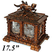 "RARE Lg Antique Black Forest 17.5"" Cave a Liqueur, Carved Tantalus: Hunting DOG & 16pc Glassware"