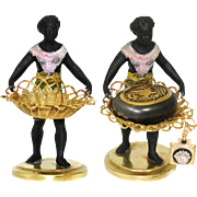 Antique French Blackamoor Female Figure with Basket for Flowers, etc, Figural & c.1850-70