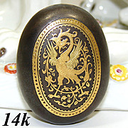 Antique 14k Gold Damascene Inlay & Steel Snuff or Pill Box, Winged Griffin Inlay