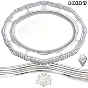 "Rare Antique French ODIOT Sterling Silver 19.25"" Serving Tray, Engraved Royal Armorial Style Heraldry"