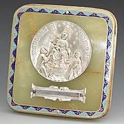 "Antique French Napoleon III Champleve Enamel & Green Onyx Plaque, ""Madonna Di Pompei"" Medallion"