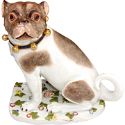 "RARE Antique Dresden Porcelain PUG Male, 8"" Dog, Hand Painted with Unique Floral Base"