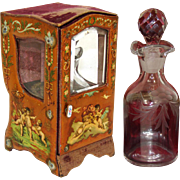 Antique French Miniature Sedan Display Vitrine, Box: Vernis Martin, Perfume Bottle Casket
