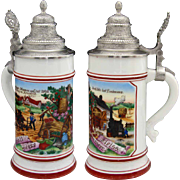 Fine Antique German Lithophane Beer Bier Stein, Hand Painted Pastoral Scene, Pewter Top