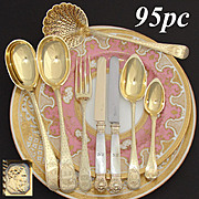 RARE Antique French Vermeil 18k Gold on Sterling Silver 95pc Dessert Flatware Set, Service for 20, Orig. Storage Chests, 1819-1838