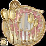 RARE Antique French Vermeil 18k Gold on Sterling Silver 95pc Dessert Flatware Set, Service for 20, Orig. Storage Chests, 1819-1838