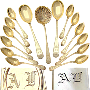 Additional images for 516rverms, 95pc Antique French Vermeil 18k Gold on Sterling Silver Dessert Flatware Set