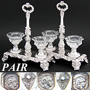 Rare Antique French Sterling Silver & Cut Glass Double Open Salt or Sweetmeat Caddy *PAIR*
