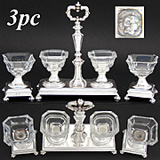 Rare Antique French Sterling Silver & Cut Glass 3pc Open Salt or Sweet Meat Caddy Set, c. 1834-1847