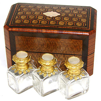 Superb Antique French Scent Casket, Caddy, 3 Perfume, Cologne Bottle, Napoleon III