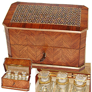 Superb Antique French Scent Casket, Caddy, 3 Baccarat Perfume, Cologne Bottle, Napoleon III