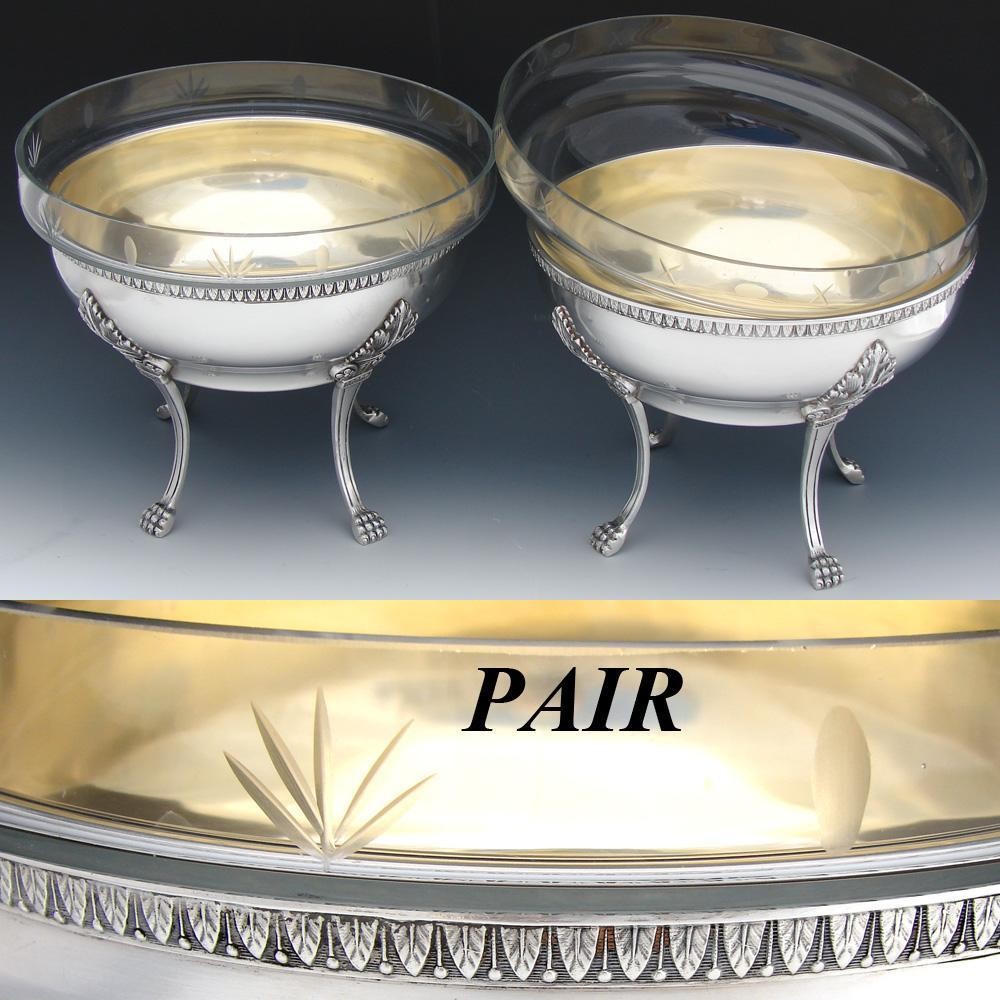 "Elegant Antique French Silver Plate 7"" Serving Bowl PAIR, 8 3/4"" Cut Glass Inserts, Lion Paw Cabriole Legs"