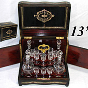 LG Antique French Napoleon III Era Liqueur Tantalus, Cave a Liqueur, Brass Inlay, 18pc Glassware