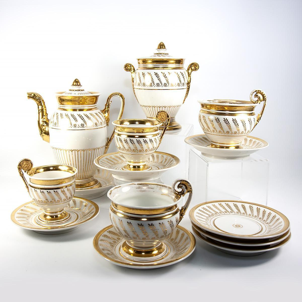 Fab Antique French Old Paris Porcelain French Empire Era Tea & Chocolate Set, 14 pc. +