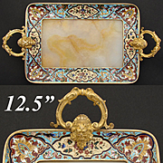 """Antique French Champleve Enamel 9.5""""+  Vanity or Card Tray, Alabaster, Napoleon III"""