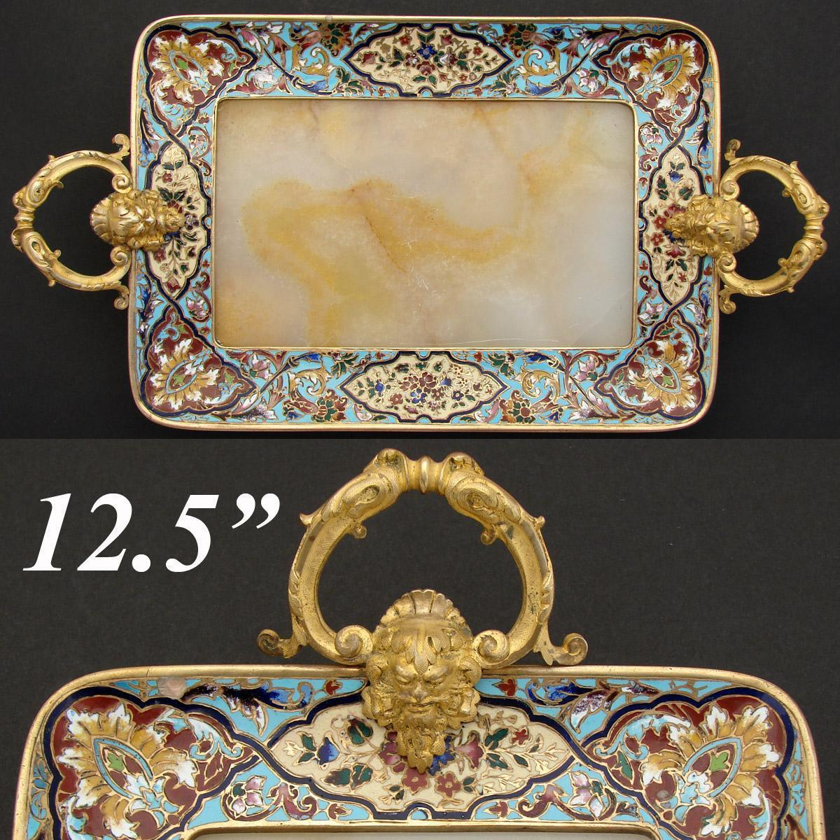 "Antique French Champleve Enamel 9.5""+  Vanity or Card Tray, Alabaster, Napoleon III"