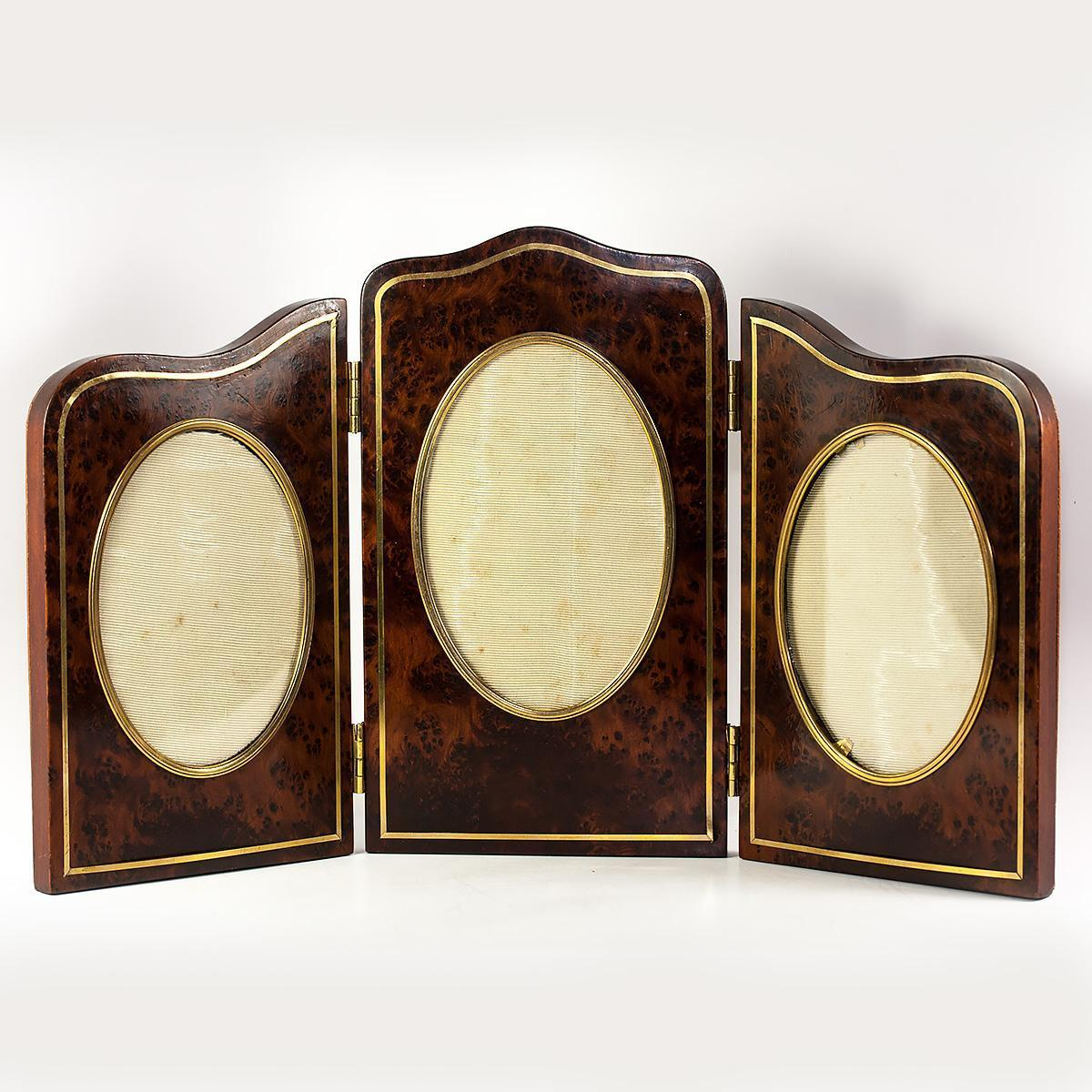 "Antique French Triple Photo Frame, Wood and Leather, 15.75"" x 8.75"" Folding Screen Like"