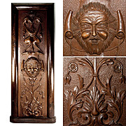 Antique Hand Carved Cabinetry Panel, Renaissance Grotesques, Figural, in Wood Frame, Stand