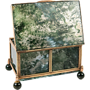 "Antique Idar - Oberstein Moss Agate Specimen Box, Casket in Dore Bronze Frame, 3.5"""