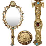 "Fine Antique French Gilt Ormolu 11.5"" Hand or Vanity Mirror, Jeweled with Figural Medallions"
