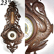 Antique Hand Carved Black Forest  Barometer with Swans, Unusual Hunt Theme, 19th c.