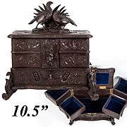 Antique Black Forest 3-level Jewelry Chest, Box, Cabinet w Game Hens, Hand Carved c. 1880