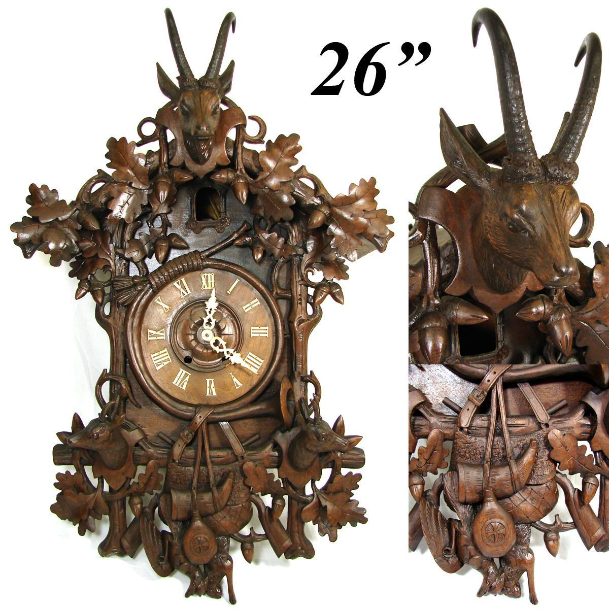 Spectacular Antique Black Forest 26 Cuckoo Clock Case