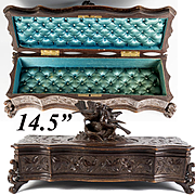 "Antique Black Forest 14.5"" Glove or Jewelry Chest, Box, Cabinet w Birds, Hand Carved c. 1880"