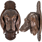 "Antique Black Forest 15"" Plaque, Dog or Hound's Head Jardiniere, Hand Carved c. 1880"