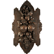 Elegant Antique French Carved Wall Plaque, Fruits - Either Gueret Freres or Black Forest