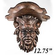 """Wonderful Antique Hand Carved Black Forest Figural 12.75"""" Bracket or Clock Shelf, Bacchus ?"""