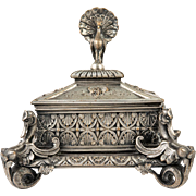 FUN Antique Neo-Gothic French Jewelry Casket, Duck Sphinx Cabriole Legs, Shell & Peacock