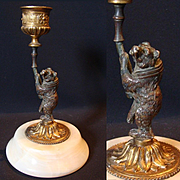 Antique Bronze Bear Candlestick, French Palais Royal item on Alabaster Base, c.1840s