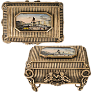 Antique French Eglomise Grand Tour Souvenir Jewelry Box, Casket, Ile Saint Louis View, Paris
