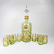 Antique French Raised Gold Enamel Liqueur Service, Decanter, 9 Cordials , St. Louis 19th Century, Green