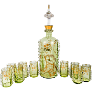 Antique French Raised Gold Enamel Liqueur Service, Decanter, 9 Cordials , St. Louis 19th Century, Green