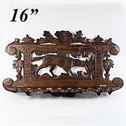 "Antique Black Forest 16"" Plaque, Dog or Hound's Pipe or Spoon Rack, Hand Carved c. 1880"