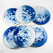 "Set of 6 Antique French Plates Hand Painted, Limoges, France, 9.75"" Diam, Cobalt Blue, Gold Trim"