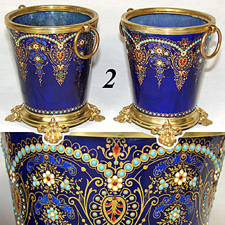 RARE Antique French (Bressen) Kiln-fired Enamel Cache Pot Pair, 2 Jardiniere, Bresse Jeweled