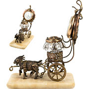 Antique French Palais Royal Goat Carriage, Glass & Ormolu Pocket Watch Stand and Inkwell
