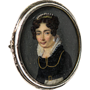 Antique Hand Painted French Portrait Miniature on Mother of Pearl, a Sterling Silver Brooch, Tiara & Pearls