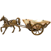 Antique French Palais Royal Horse Carriage, Mother of Pearl Egg & Ormolu Jewelry or Thimble Holder