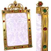 "LG Antique French Napoleon III Era 15"" Picture Frame, Ruby & Emerald Glass Jeweled Gilt Bronze"