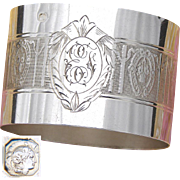 Antique French Sterling Silver Napkin Ring, Flower Basket, Bow & Ribbon Decoration, EF Monogram