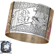 "Antique French Sterling Silver Napkin Ring, Guilloche Style Decoration, ""GL"" Monogram"