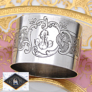 "Antique French Sterling Silver Napkin Ring, Floral & Textured Decoration, ""AG"" Monogram"