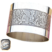 Antique French Sterling Silver Napkin Ring, Empire Style Sphinx, Falcon & Asp Snake Figures