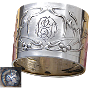 Gorgeous Antique French Sterling Silver Napkin Ring, Ornate Art Nouveau Floral Decoration, LD Monogram